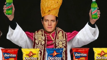 "A meme depicting Keighley as ""Dorito pope."""