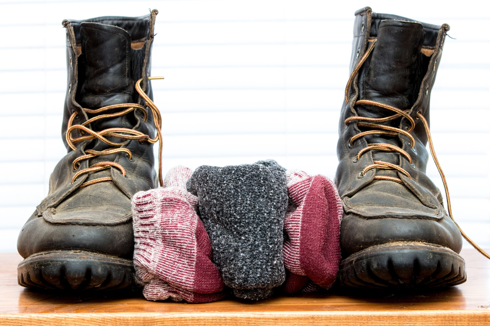 Wool Socks with Old Leather Boots Bookends