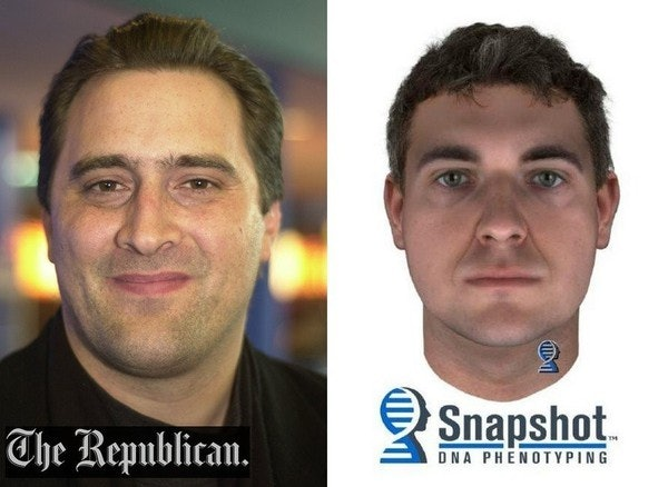 On the left is a photograph ofGary Schara. On the right is the composite sketch of him, as seen in this side-by-side comparison published by the Springfield, Massachusetts newspaper 'The Republican.'