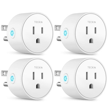 Smart Plug Works with Alexa Google Assistant IFTTT for Voice Control, Teckin Mini Smart Outlet Wifi plug with Timer Function, No Hub Required, White FCC ETL Certified