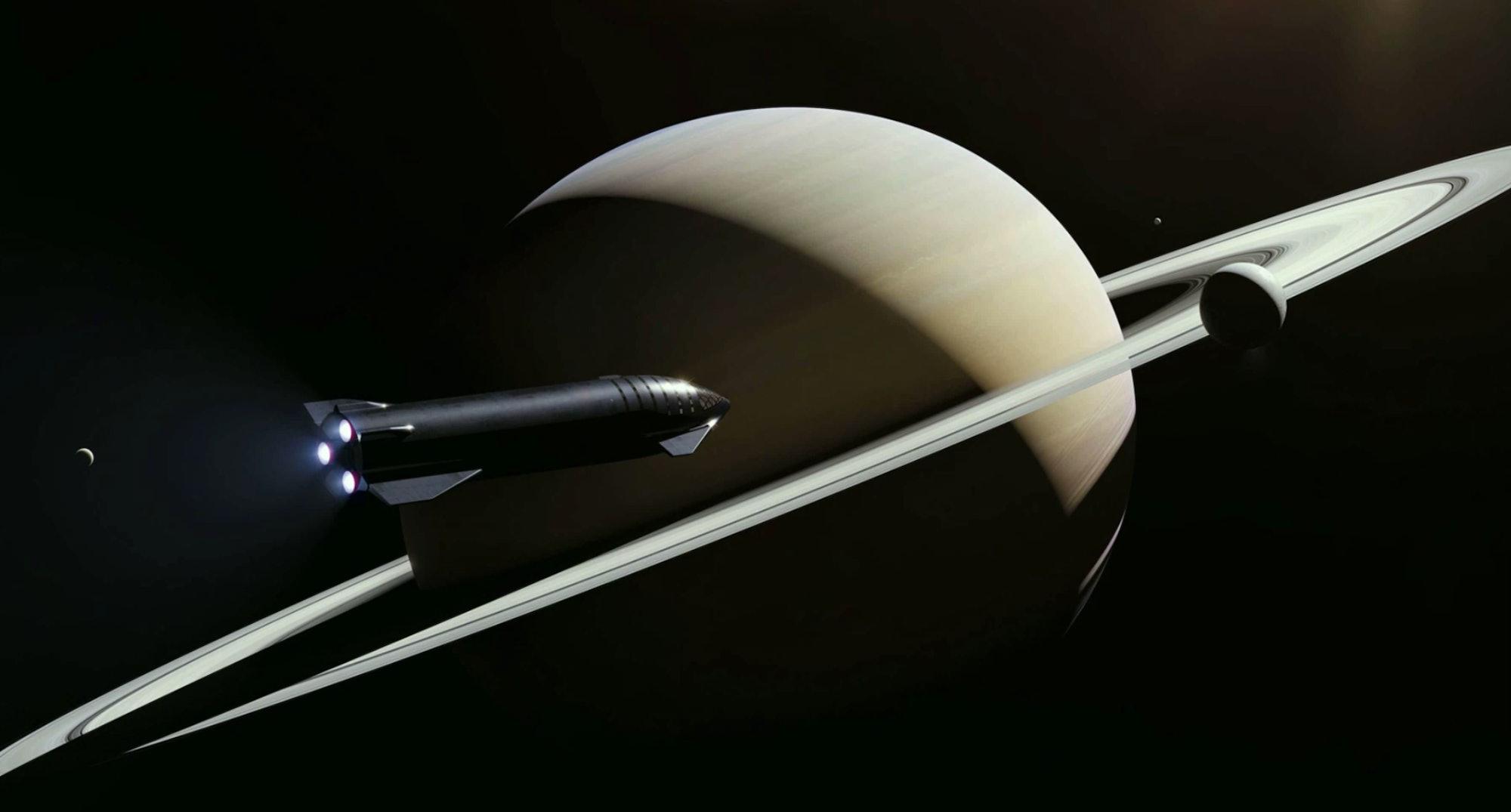 An artist's rendering of Starship near Saturn.