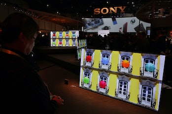 The new Sony XBR-A1E BRAVIA OLED series 4K HDR TV is on display during a press event for CES 2017 at the Las Vegas Convention Center on Wednesday in Las Vegas.