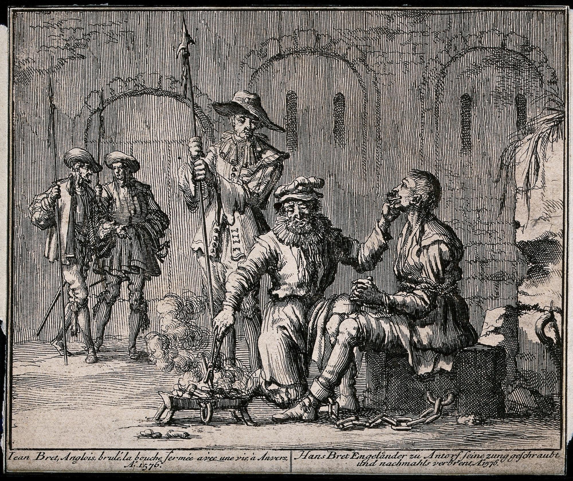 The torture of Hans Bret, an Englishman captured in Antwerp in 1576