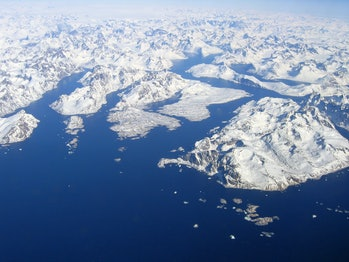Aerial view of Greenland seen from flight DL 0069 (Copenhagen - Atlanta). You can see the position o...