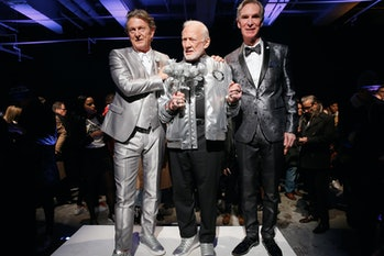 Nick Graham, Buzz Aldrin and Bill Nye on the runway in New York.