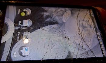 smartphone cracked glass