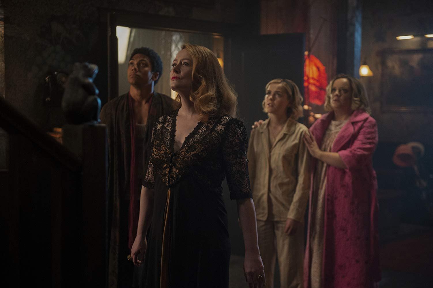 Miranda Otto, Chance Perdomo, Kiernan Shipka, and Lucy Davis in Netflix's 'Chilling Adventures of Sabrina'