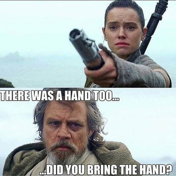 Luke might have been more attached to the hand than he was to that lightsaber.