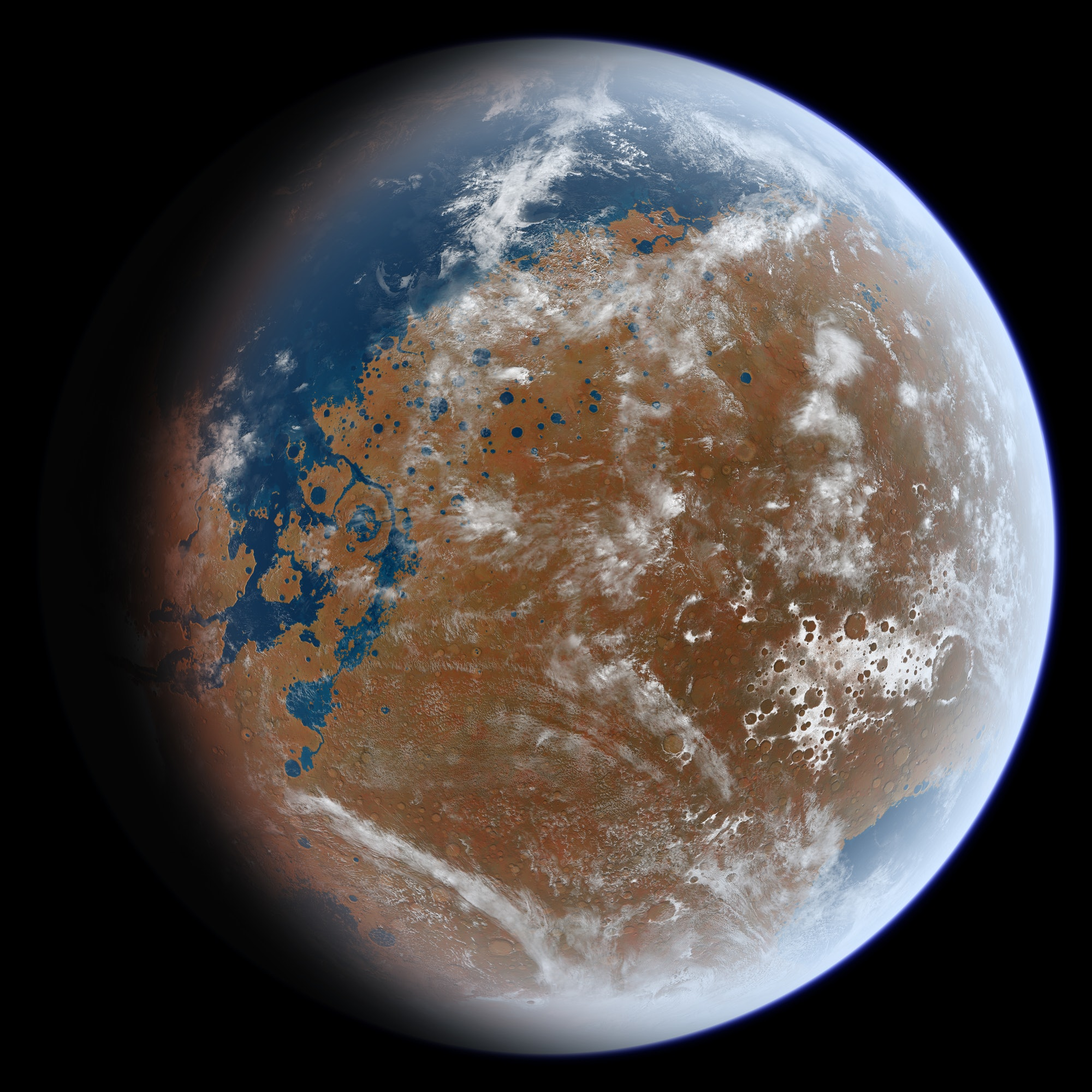 What an ancient Mars teeming with water may have looked like.