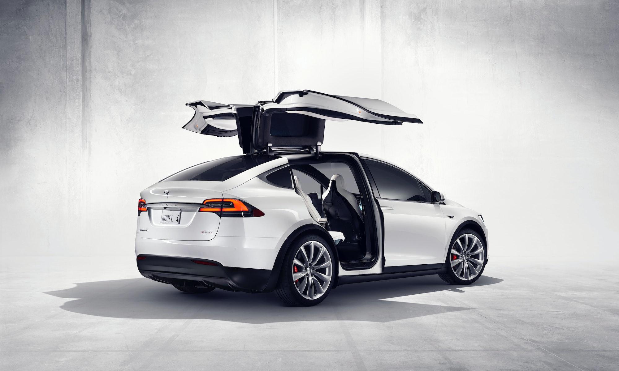 Tesla Model X falcon wing doors.
