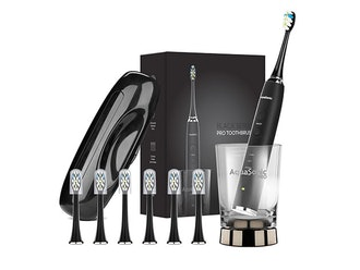 Aquasonic PRO Toothbrush with 6 ProFlex Brush Heads, Wireless Charging Glass & Case
