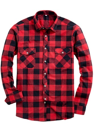 Alimens & Gentle Men's Button Down Long-Sleeve Plaid Flannel Shirt