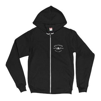 A black hoodie with a white zipper.