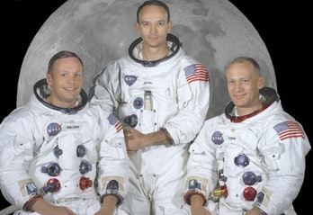 (L-R) Neil Armstrong, Michael Collins, and Buzz Aldrin — the crew of Apollo 11