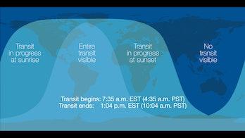 Transit of Mercury 2019 map