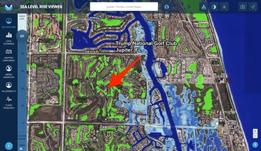 Trump National Golf Club Jupiter florida sea level rise map