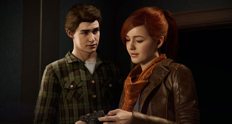 Peter Parker and Mary Jane Watson in 'Spider-Man'.