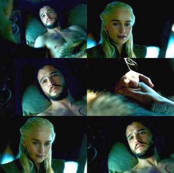 Kit Harington as Jon Snow and Emilia Clarke as Daenerys Targaryen in 'Game of Thrones' Season 7 'Beyond the Wall'