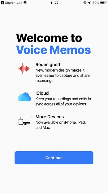 Voice Memos splash screen.