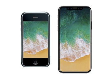 The original iPhone, left, compared to the rumored iPhone 8.