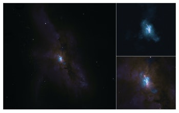 The ALMA image on top and the Hubble image on the bottom.