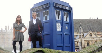 Most contemporary fans will think of the TARDIS with a white instruction sign with black lettering.