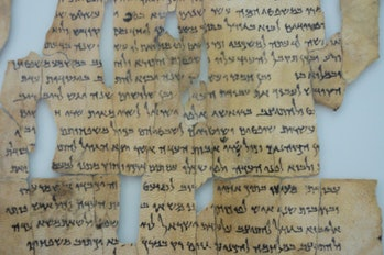 """The so-called """"Dead Sea Scrolls"""" are a set of ancient Jewish/Biblical documents discovered on the northwest shore of the Dead Sea between 1946 and 1956. Most are in Israel today, but this (and others) are in Jordan since borders have shifted over the years. Written in Hebrew, Aramaic and Greek, mostly on parchment, but with some written on papyrus and even copper, these manuscripts generally date between 150 BC and 70 AD. Many scholars believetherwwere buried just before the Romans put down the """"Jewish rebellion"""" that ran from about 67 to 73 AD. The scrolls are traditionally identified with the ancient Jewish sect called the Essenes, but scholars debate that. In fact, many of the scrolls were declared """"state secrets"""" when they were found. It is sort of strange to think that something written over 2,000 years ago could still represent a national security risk today."""