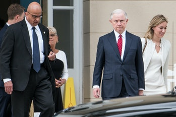 U.S. Attorney General Jeff Sessions exits the National Advocacy Center on June 7, 2017 in Columbia, South Carolina. Sessions attended the Appellate Chiefs' Conference that featured members of the Solicitor General's Office, Criminal Appellate and Civil Appellate Sections, and other Justice Department officials.