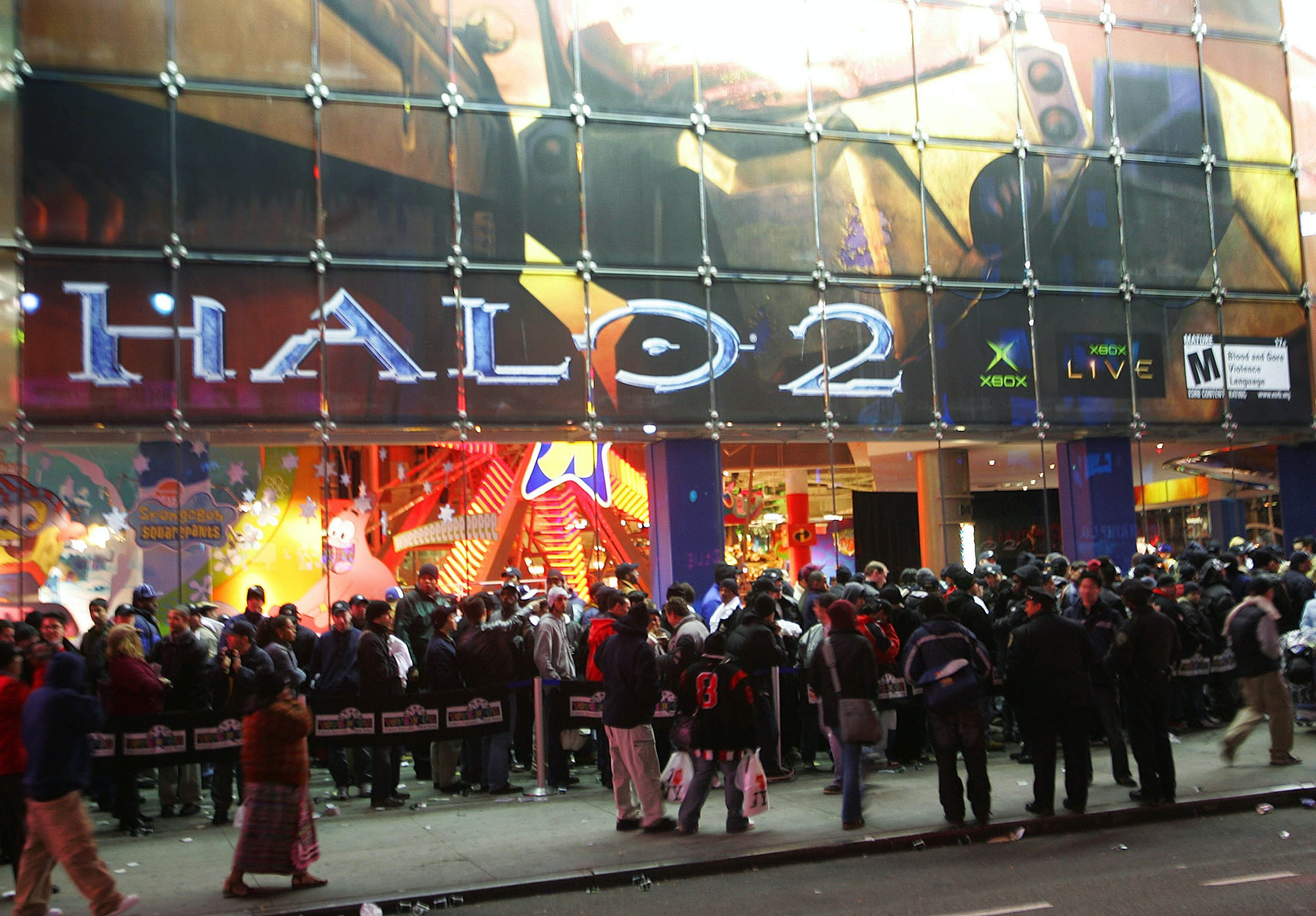 Fans of the game Halo 2 stand in line before midnight at the Toys 'R' Us store in Times Square November 8, 2004 in New York City.