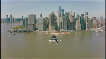 The Uber Copter flying to Manhattan.