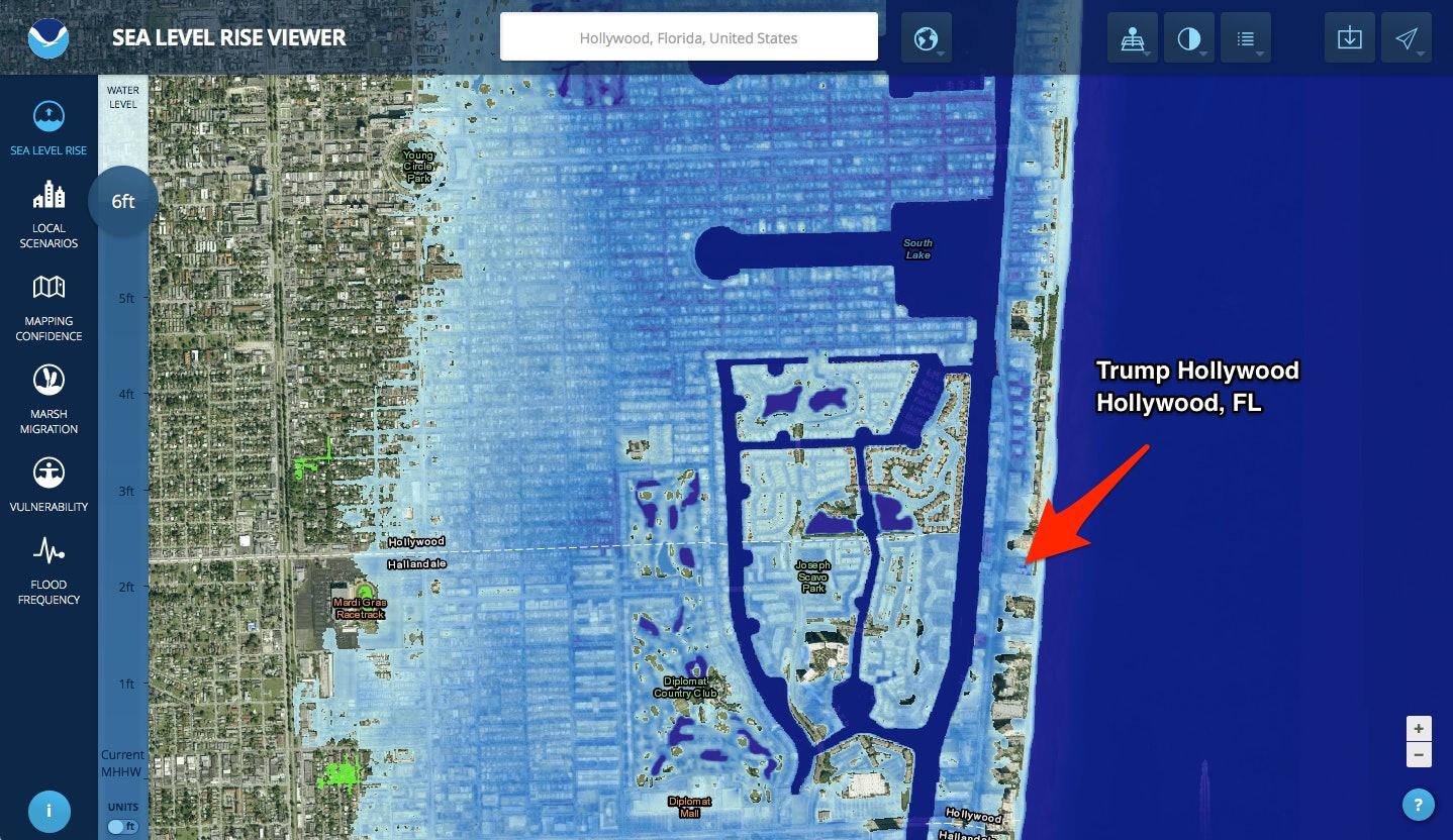 trump hollywood florida sea level rise map