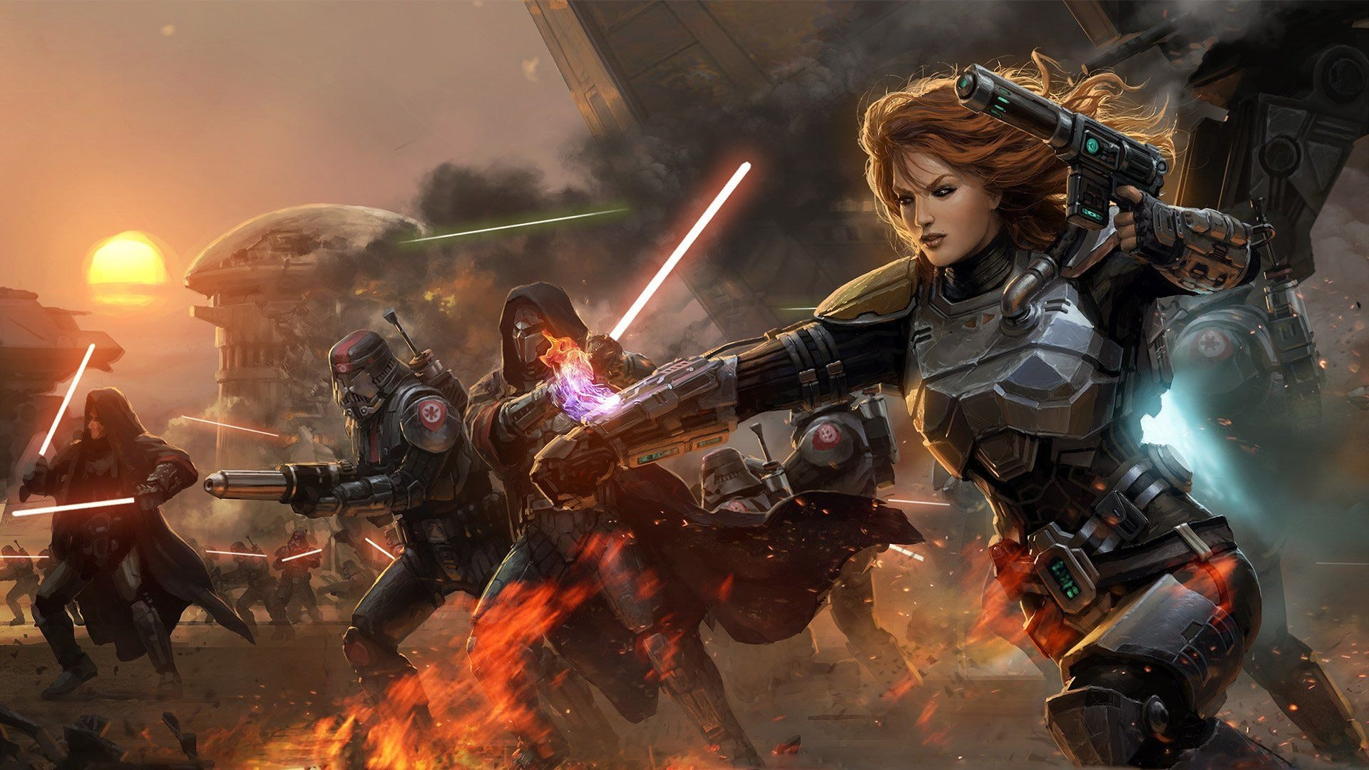 Promotional art for 'Star Wars: The Old Republic' an MMO sequel to 'Knights of the Old Republic'.