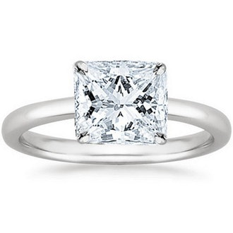4K White Gold Princess Cut Solitaire Diamond Engagement Ring