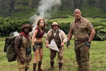 Kevin Hart, Karen Gillan, Jack Black, and Dwayne Johnson in Jumanji Welcome to the Jungle
