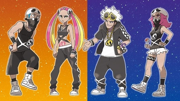 Team Skull leaders Plumeria and Guzman with their minions