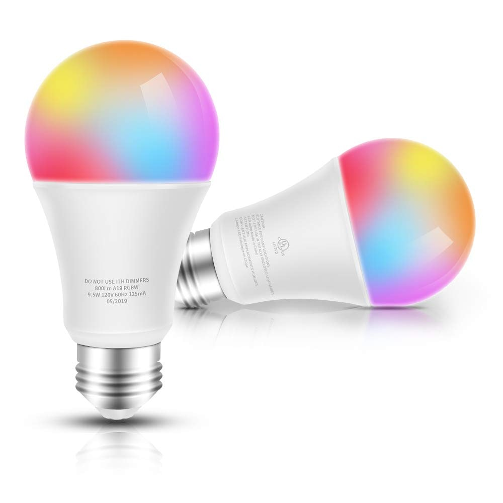 Kuled Smart LED Light Bulb, Decorative Bulb WiFi Light E26 Compatible with Alexa, Echo, Google Home and IFTTT, No Hub Required, 60W Equivalent RGBW Color Changing, White 2700K Dimmable 9.5W UL Listed 2pack