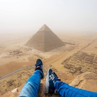 Man Climbs the Great Pyramid of Giza