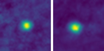 The closest-ever images of Kuiper Belt objects, taken by NASA's New Horizons spacecraft.KBOs 2012 HZ84 (left) and 2012 HE85 (right).