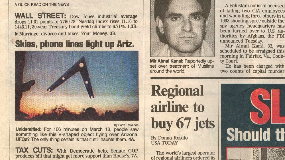 """The """"Phoenix Lights"""" got so popular that a story ran in USA Today."""