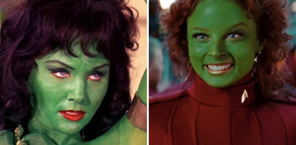 """Orions! LEFT: Vina in 'The Cage' (or 'The Menagerie"""",1966) RIGHT: Gaila in 'Star Trek' (reboot, 2009)"""