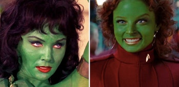 "Orions! LEFT: Vina in 'The Cage' (or 'The Menagerie"",1966) RIGHT: Gaila in 'Star Trek' (reboot, 2009)"