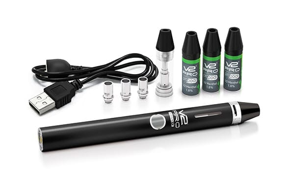 The V2 Series 3x vaporizer with three V2 Menthol Pro Pods on the top-right.