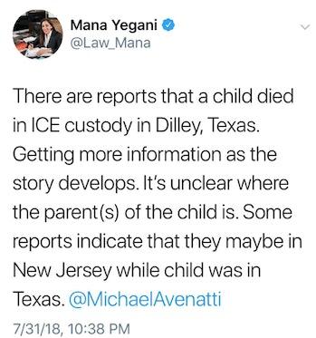 Mana Yegani's tweet.