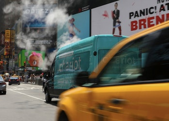 A Chariot in Times Square, which, ironically, isn't part of any of the company's first two routes through the city.