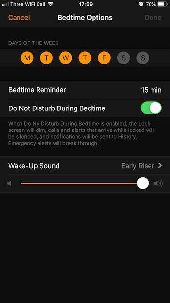 Bedtime configuration screen.