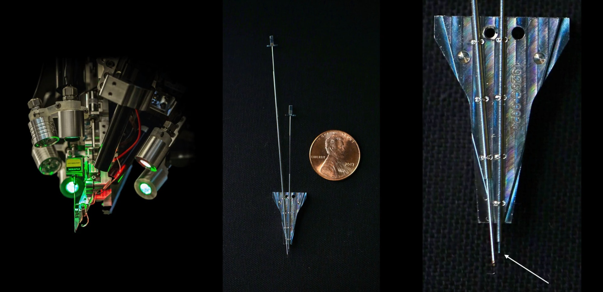 On the far right next to the arrow, the robot needle used to thread the probes.