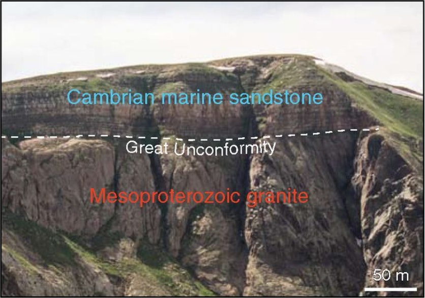 This image shows how rock from two very distant time periods sit directly on top of each other in the Needle Mountains of Colorado.