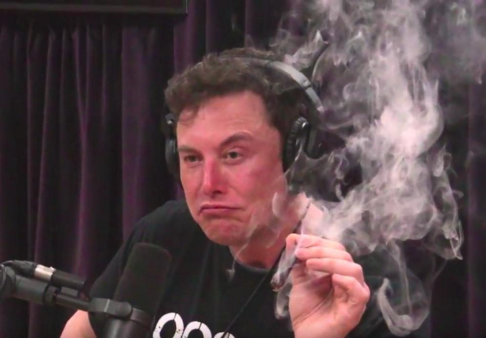Elon Musk smoking weed on Joe Rogan's podcast/talk show on Thursday night.