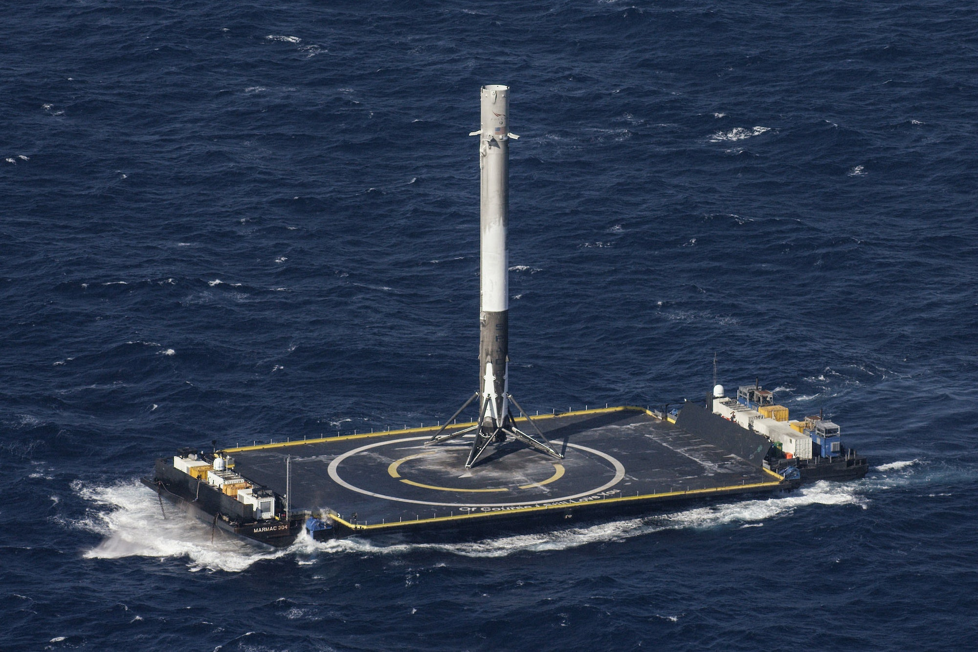 """The Falcon 9 stands up on the droneship """"Of Course I Still Love You', the name of which was taken from a ship in anIain M. Banks book."""