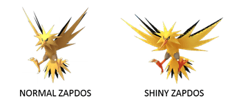Normal Zapdos and Shiny Zapdos Pokemon GO
